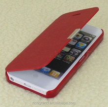 Genuine Ultra thin Magnetic Button Flip Leather Phone Shell Cover Case for iphone 4/ 4s