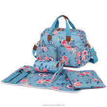 L1501-17F MISS LULU 4PCS Flower PATTERN MATERNITY BABY CHANGING BAG DUFFEL HOLDALL Oilcloth BAG BABY DIAPER LIGHT LARGE HANDBAG