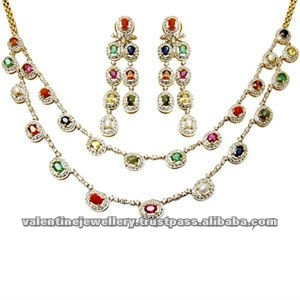 multi gemstone navratna two line necklace set in 18k yellow gold for traditional function