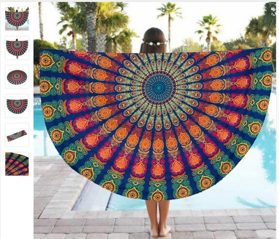 beach towel with hoodies sublimation print customer design beach towel Round Mandala mats beach mat with backrest
