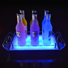 Shenzhen factory customizes gear laptop rechargeable light up cocktail acrylic serving trays