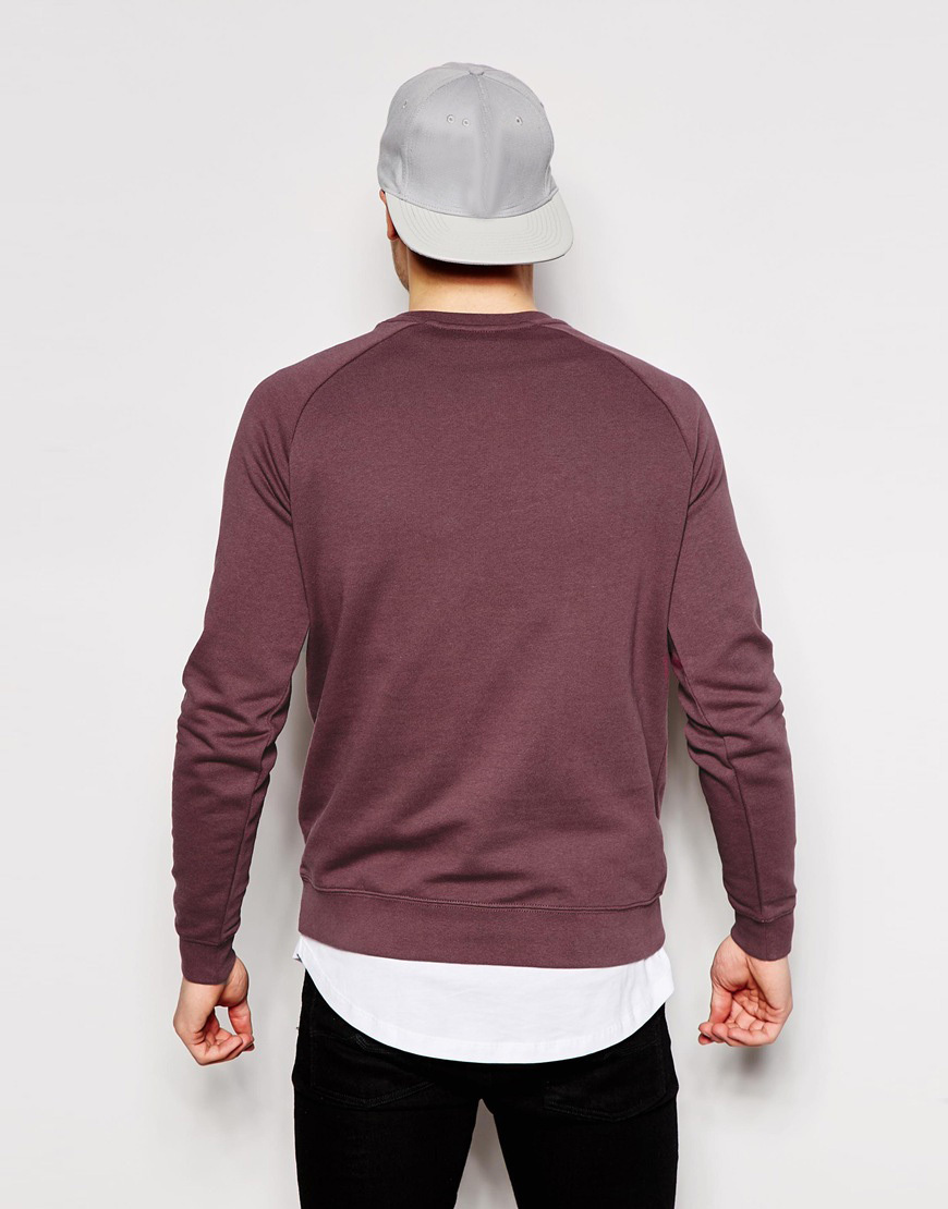 Man Clothing Plain Pullover Sweatshirt With Crew Neck And Raglan Sleeves