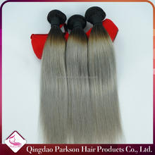 In stock #1B/Gray Human Hair 7A Brazilian Virgin hair Silver Grey Hair Weave 3 Pcs/Lot silk straight ombre hair weave