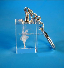 3D engraving dancing girl ornamental crystals keychain