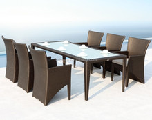 Outdoor living modern glass top dining table and chair set rattan cebu restaurant furniture