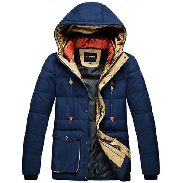 top fashion clothing long sleeve zippered pocket hood down feather rib trim cuff and hem new men coat pant designs