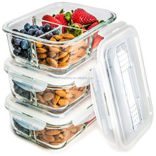 Glass Meal Prep Containers 3 Compartment - Food Storage Container Set with Airtight Locking Lids with Cutlery Compartment - Port
