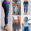 Hot Sale High Waisted Elastic Low Price Womens Blue Jean Pants