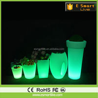 2015 house decoration plant,blow mold plastic pot,rechargeable illuminated led flower pots