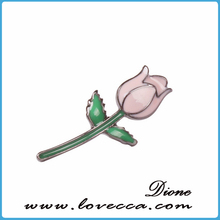Wholesale Fashion Jewelry Pink Enamel Rose Flower Brooch For Promotion Gifts