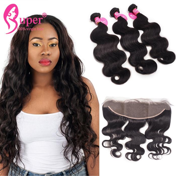 Straight Hair Bundles with Lace Frontal Sew In Ear to Ear African American Hair Style Best Affordable Cheap Real Human Weave