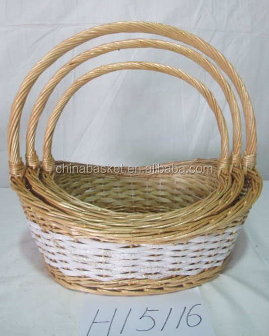 Christmas Handmade Wicker Willow Empty Gift Basket