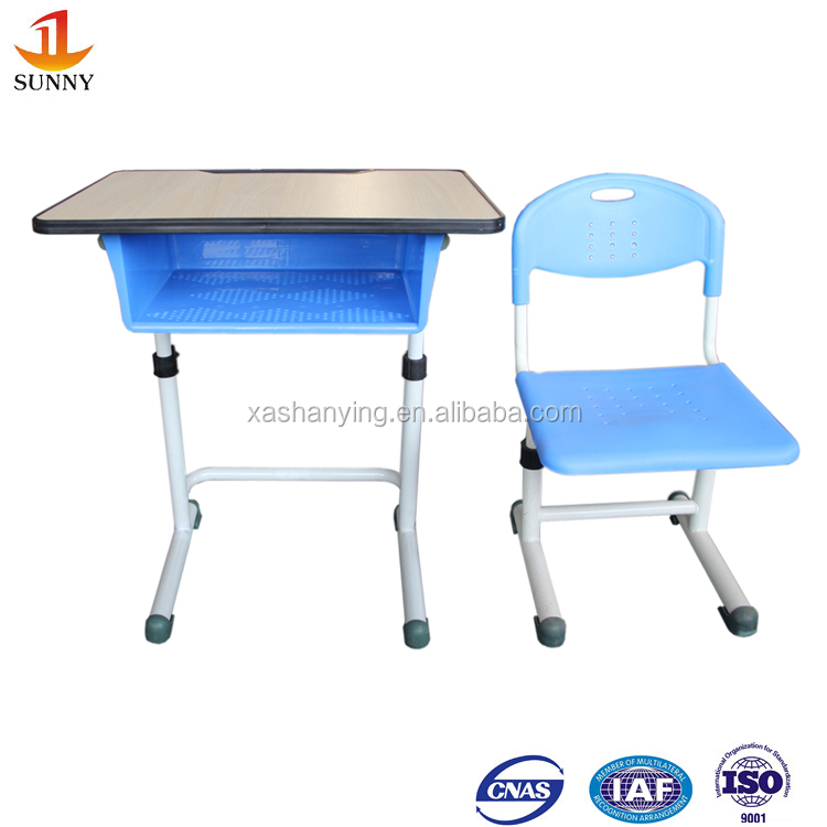Blue color wood used adjustable school desk and chair