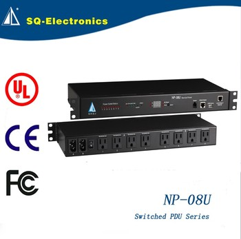 Switched PDU-08U USA current metered industrial rack mount universal socket pdu
