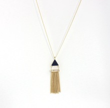 Dazzle Flash Fashion Retro Style Tassel End Long Necklace,Gold Tone Tassels Sweater Necklace with Lazuli Triangle