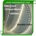 Contemporary best sell 600LEDs bi color flexible led strip flat top