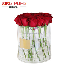 Wholesale waterproof clear acrylic luxury gift fresh flower cylinder display round flower box