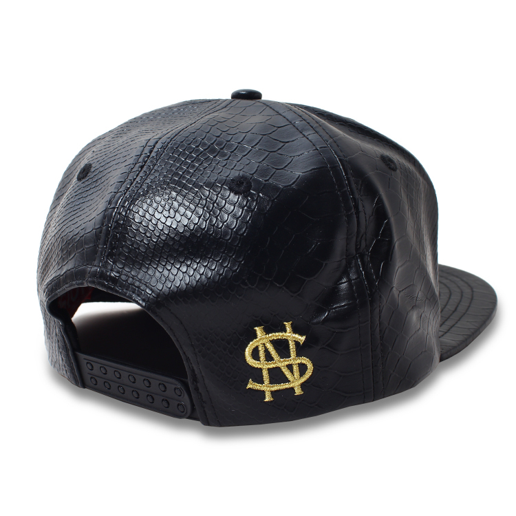 custom 5 panel leather snapback metal iron lock cool caps