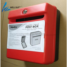 Red color durable wall mounted iron mailbox with plastic lockable letter mailbox vertical waterproof letter mailbox