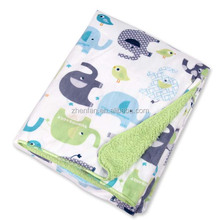 green elephant double layer fleece baby blanket