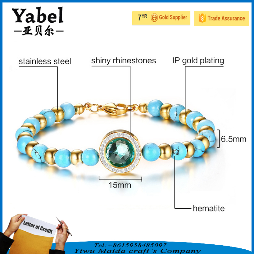 Stainless steel clasps for bracelet rhinestone turquoise magnetic jewlery bracelet