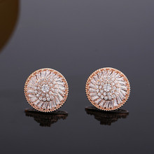 Top sale fashion design round shape ear stud earrings