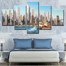 5 piece canvas art Printed new york city Painting on canvas room decoration Modular print poster picture canvas