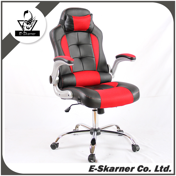 E-Skarner computer desk ceo black red leather office chair