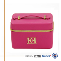 china product price list organizer pu pink leather make up case with zipper