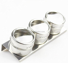 3 Pieces 18/8(#304) Stainless Steel Magnetic Spice Jar with Metal Stand