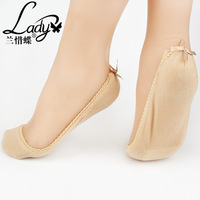 Lan Xidie new fashion bow socks socks lady padded socks goods wholesale trade shallow mouth contact