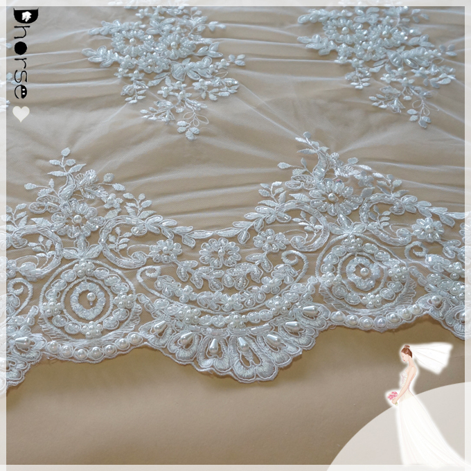 2018 dhorse border lace/DH-BF784 wholesale mesh lace fabric for wedding dress /100% Eco-friendly latest embroidery designs