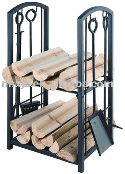 5 pcs fireplace tools with log carrier
