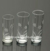 high quality flower frosted clear long drinking glass cup