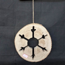 Hanging Round Driftwood snowflake patterns christmas wood decorations