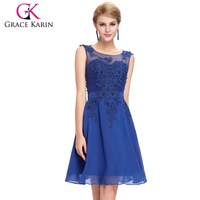Grace Karin 2016 Short Prom Dress Sleeveless Crew Neck Royal Blue Beaded Chiffon Real Pictures of Cocktail Dress GK000063-4