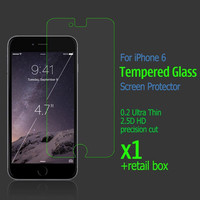 New 0.2mm Ultra Thin 2.5D HD Clear Gold Tempered Glass Screen Protector for iPhone6 with retail box