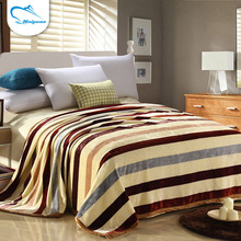 OEM accept super soft portable home use stripe printing air conditioner blanket