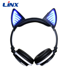 Best Bass Stereo Glowing Cat Ear headphone Wireless Blue tooth Headsets With Mic