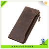 custom cheap business hottest fancy flip long style zipper top grian card holder purse Natural raw leather men's wallet