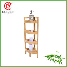 Wholesale Total Bamboo Towel Storage Rack 4 Tiers Bamboo Shower Caddy Bathroom Bamboo Freestanding Organizing Shelf