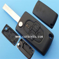 New replacement Key Fob Keyless Entry Remote Shell Case 4 button key case no logo with groove blade CE0523 Peugeot 407
