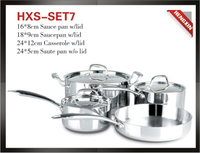 7pcs Tri-ply stainless steel cookware set