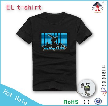 promotional t shirt with print el glow t shirt merry christmas custom led t shirt