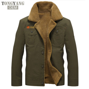 TONGYANG Winter Bomber Jacket Air Force Pilot MA1 Warm fur collar Army Jackets tactical Mens Jacket Size 5XL