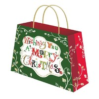 Wholesale cheap high quality christmas gift paper bag with handle
