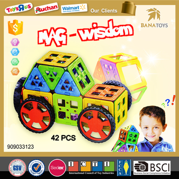 2016 Best christmas innovative new products 42 PCS 3d car puzzle game mag wisdom magnetic toys