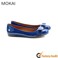 MK073 real leather royal blue low heeled womens dress shoes,lady dress shoe