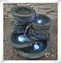 Hotel decoration 4 tier resin garden water fountain with led