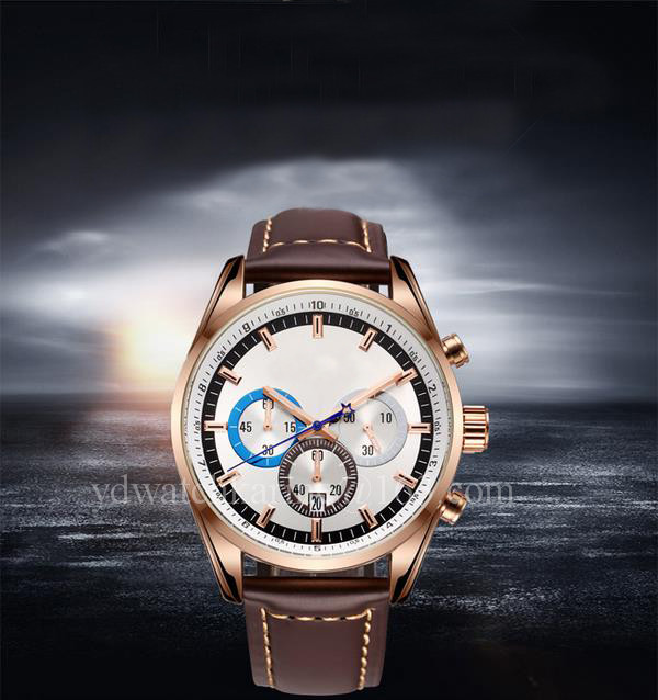 Men chronograph wrist watches with genuine leather band YD0210